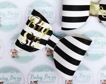 Black and White striped Bow with 'Big Sis' embossed in gold  -Hairbows-Hairbands-Bows-Girls Hairbow