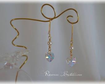 Wedding bridal earrings, heart earrings, crystal heart earrings - Swarovski Crystal heart earrings