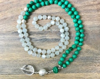Malachite and Moonstone 108 Mala Necklace with Sterling Silver Accents/ Japa Mala Beads/ Yoga Necklace /Meditation Mala Beads