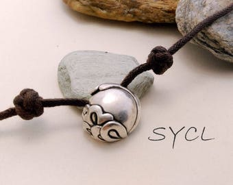 Peony Flower Silver Necklace. Handmade Item. 99% Sterling Silver Necklace.Original and Exclusive Design.Artisan Handmade by SYCL.