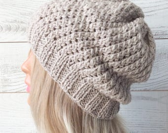 Knit hat, knit beanie, slouch hat, knitted hat, wool knit hat, knit beanie hat, slouchy hat, knit beanie
