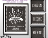 """Big Sister Training Camp Pregnancy Announcement Photo Props, Baby #2 is due JUNE Dated Chalkboard Style PRINTABLE 8x10/16x20"""" Signs <ID>"""