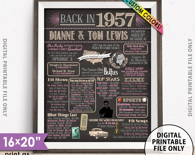 """1957 Anniversary Gift, Married in 1957 Anniversary Poster, Flashback to 1957 Flashback, Chalkboard Style PRINTABLE 8x10/16x20"""" 1957 Sign"""