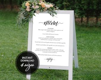 Editable PDF Wedding Menu Sign Wedding Menu Board Calligraphic Wedding Menu Poster Instant download sign DIY Printable Sign #DP110_20