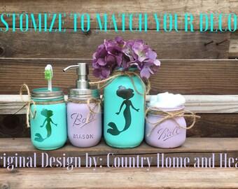 Mermaid Bathroom Decor, Mermaid Decor, Mermaid Painted Mason Jars, Mason Jar Bathroom Set for Girls, Mermaid Bath Decor, Mermaid Bath Set