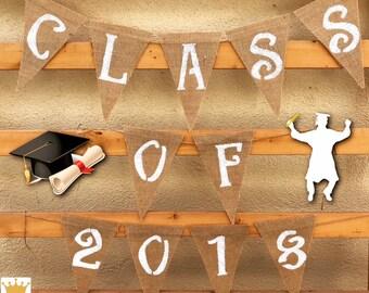 Class Of 2018 Banner, Graduation Decor, Grad Banner, Congrats Grad, Congrats Banner, Graduation Banner, Burlap Banner