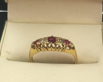 18ct Yellow Gold Ruby and Diamond 5 stone ring Size N