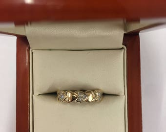 Vintage 9ct Yellow Gold Diamond Heart Ring Size L