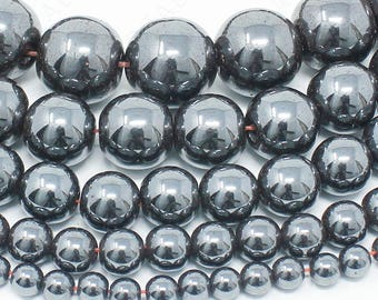 "Hematite Beads Natural Gemstone Round Loose - 4mm 6mm 8mm 10mm 12mm - 15.5"" Strand"