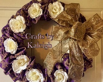 Purple burlap wreath