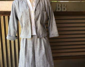 Vintage Hickory Striped 2-piece Jacket/Shorts Set S/M