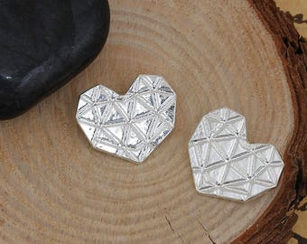 Origami 20x16mm heart silver charm
