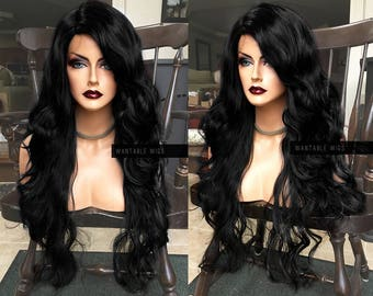 Black Human Hair BLEND // Lace Front Wig w/ Fake Part // Long Curly & Wavy Wig for Drag, Cosplay, Chemo, Natural Ethnic