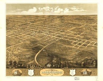 Independence MO Panoramic Map dated 1868. This print is a wonderful wall decoration for Den, Office, Man Cave or any wall.