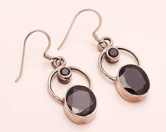 925 Solid Sterling Silver GARNET Earring
