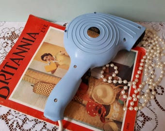 Retro Hair Dryer 1960's Baby Blue Toltec Hairdryer Working & PAT Tested Christmas Gift for Her Mid Century Salon Display Vintage Glamour