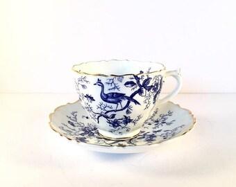 ON SALE Coalport teacup vintage blue and white fine bone china Coalport teacup and saucer bluebird design collectinle coalport china