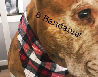 Dog Bandana, set of 5, Free Shipping in the US, Snap close Bandana, Cute collar, Dog accessories, Dog bandanas, cute dog bandanas