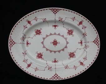 Furnivals Denmark Pink and White Oval Serving Plate or Platter 14.25 inches