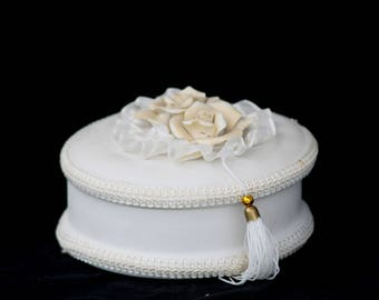 White Trinket Box, Jewelry Box, Ceramic White Box, Wedding Box, Ring Box