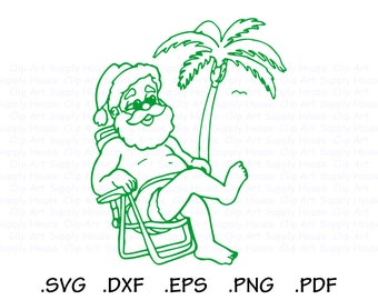 Santa Claus SVG, Tropical Santa Clipart, Christmas Wall Art, Santa SVG, Tropical Christmas Clipart, Cricut Design Space, Silhouette - CA477