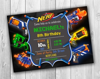 NERF invitation, Nerf Birthday invitation, Nerf Party invitation, Nerf Birthday, Nerf Wars Initation, Nerf Birthday Inite - ONLY FILE