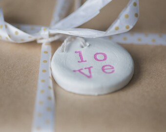 LOVE gift tag pink, gift tags, love gift tags, clay gift tags, gift tag, packaging,