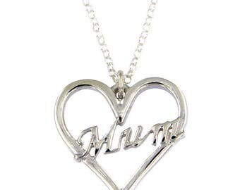 925 Sterling Silver Mum Heart Pendant Heart Love Valentine pendant with 18 inch Chain - Made in UK