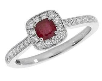 Diamond Cushion RUBY 9ct White Gold Engagement Wedding Ring & 25pt Diamond Cushion Cluster Ring