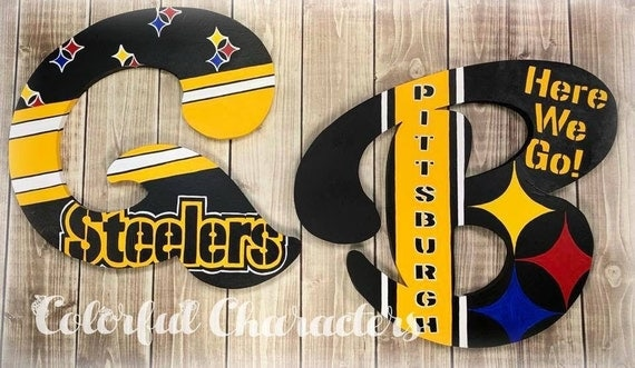 painted pittsburgh steelers wall letters bow holders wall decor
