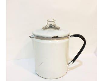 Vintage Pyrex Enamelware Coffee/Tea Kettle
