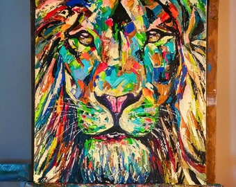 Modern Abstract LION Oil Painting on canvas Spontaneous Realism Wildlife King of the jungle hand painted original