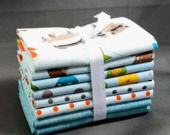 "SUMMER SALE Fox Trails Fat Quarter Bundle by Doohikey Designs for Riley Blake ~ 8 Blue & Green 18""x22"" PreCut Cotton Quilt Pieces"