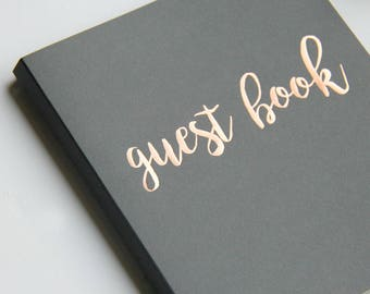 """Fast Shipping > Instax Photo Guest Book Polaroid Guestbook Wedding Alternative Guest Book Wedding, Grey Rose Gold, FlatLay 8.5""""x7"""", 100 pgs."""