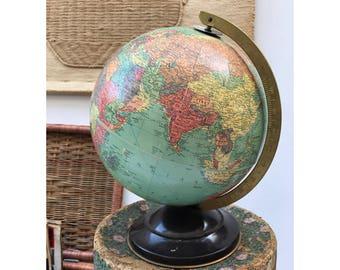 "Vintage Tin Globe -- Vintage 10"" Globe -- Replogle Globe -- Tin Replogle Globe -- Vintage Small Globe -- Vintage Kids Room"