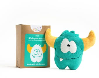 "DIY sewing kit ""make your monster"" - stocking fillers for adults - DIY plush monster kit - monster sewing pattern - Green monster toy"