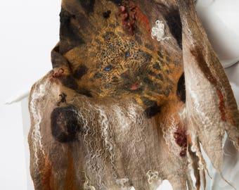 Leopard shawl / Wool and silk / Nuno felting /  Handmade felted scarf / Merino wool / Nuno  felt shawl / Free shipping.