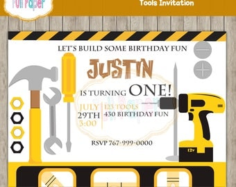 Tools Invitation, Construction Party, Tools Yellow, Party Boys, Tools Birthday, Boy Invitation, Baby Shower, First Birthday