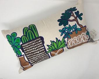 Potted Succulent Garden Lumbar Pillow