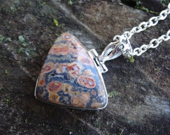 Sterling Silver Natural Leopard Skin Jasper Pendant Necklace - Natural Stone Necklace - Leopard Skin Jasper Pendant - Jasper Necklace
