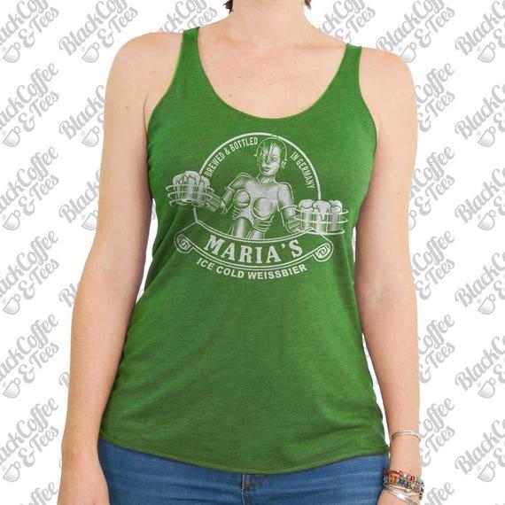 St Patricks Day Shirt - Maria Metropolis Tank Top - Craft Beer Shirt - Sci Fi Beer Shirt -St Pattys Day Shirt - Womens Green Tank