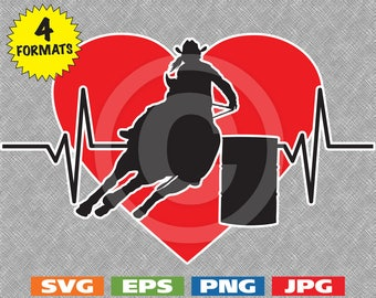Heartbeat with Female Barrel Racer on top of Red Heart - svg cutting file PLUS eps/vector, jpg, png - 300dpi