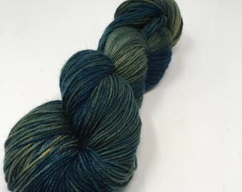 TOAK  Indie Dyed Yarn on Merino cashmere Nylon MCN brown  teal blue tonal