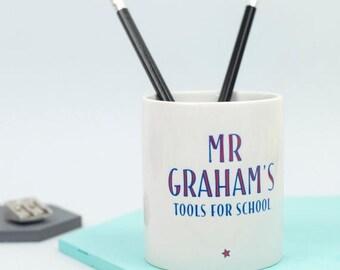 ON SALE Teacher's 'Tools For School' Desk Tidy - personalised desk tidy, hashtag, office desk accessories, unique teacher gift, office decor