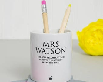 ON SALE Classic Teacher's Pen Pot - personalised desk tidy, end of term gift, office desk accessories, unique teacher gift, office decor