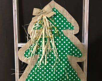 Burlap Christmas Tree Polka Dot Door Hanger