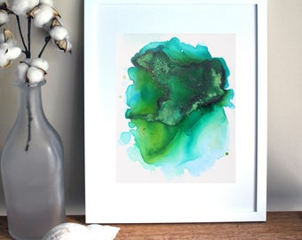Green Abstract Art, Agate Print, Meditative Watercolor Painting, Abstract Wall Art,Abstract Watercolor Painting, Boho Decor Print, Agate Art