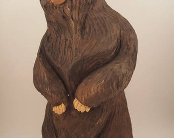 Groovy hand carved wood bear