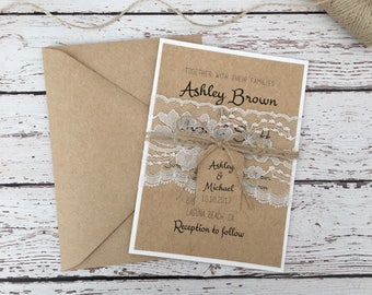 Rustic wedding invitation, lace wedding invitation, rustic lace invitation, country invitation, white lace invitation