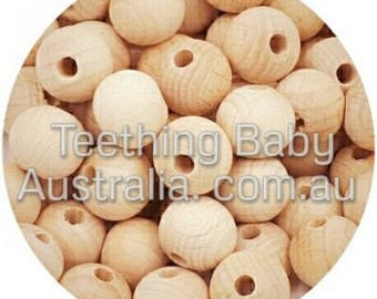 16mm BEECH WOOD BEADS - round -  Natural Eco Wood beads- Organic- Wooden - non toxic - Wholesale